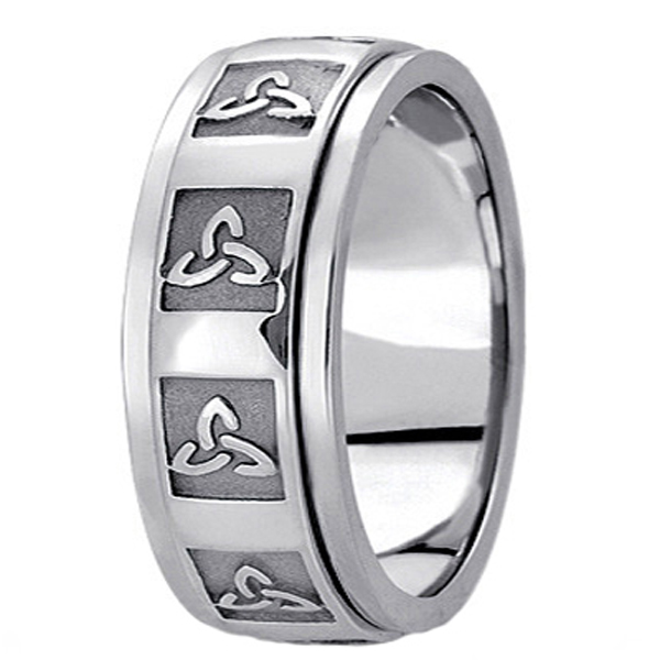 Hand Made Celtic Wedding Band in 18k White Gold (10mm)