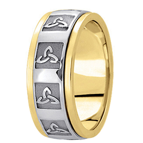Hand Made Celtic Wedding Band in 18k Two Tone Gold (10mm)