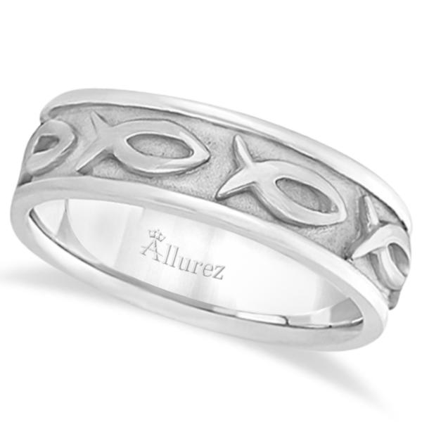 Mens Ichthus Christ Fish Symbol Wedding Ring Band 18k White Gold (7mm)