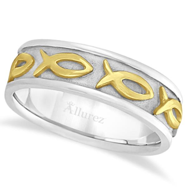 Mens Ichthus Christ Fish Symbol Wedding Ring Band 18k Two-Tone Gold (7mm)