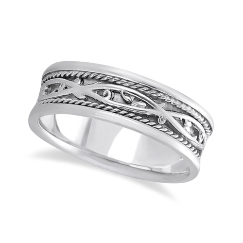 Mens Irish Handmade Celtic Wedding Ring 14k White Gold 7mm