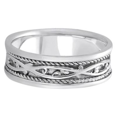 Men's Irish Handmade Celtic Wedding Ring 14k White Gold (7mm)