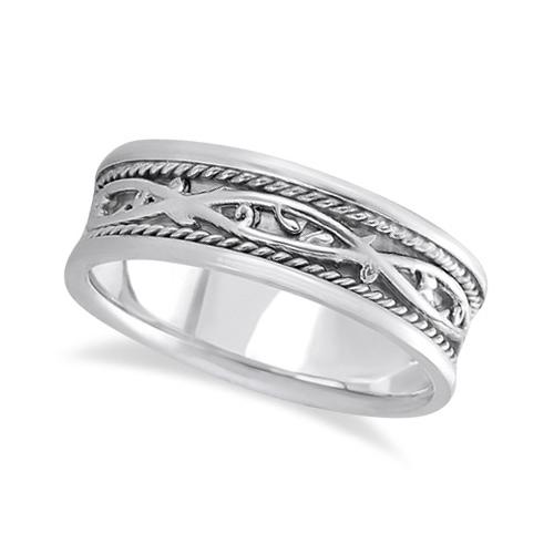 Men's Irish Handmade Celtic Wedding Band 18k White Gold (7mm)