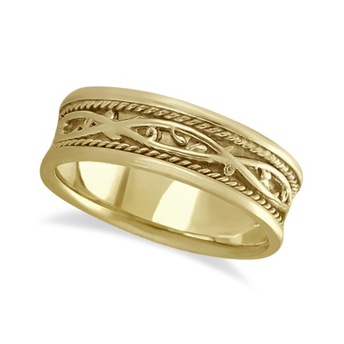 Men 39 s irish handmade celtic wedding band 18k yellow gold for Mens irish wedding rings