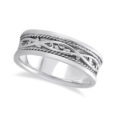 Men's Irish Handmade Celtic Wedding Ring in Palladium (7mm)