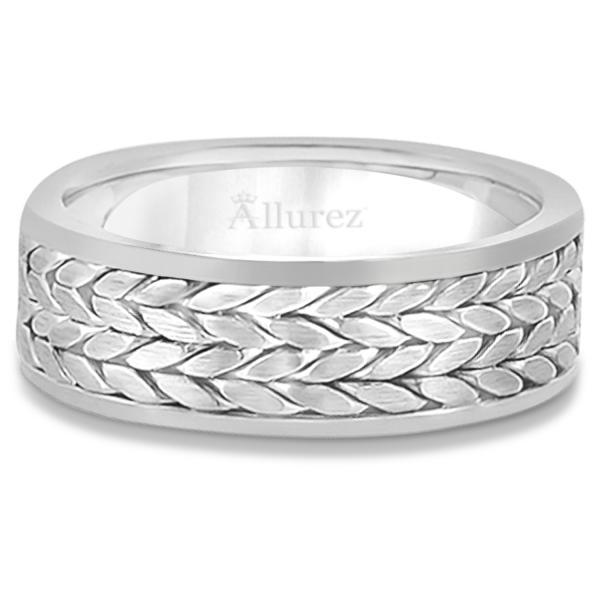 Men's Modern Braided Handwoven Wedding Ring in 14k White Gold (8mm)