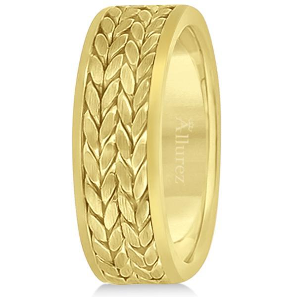 Men's Modern Braided Handwoven Wedding Ring in 14k Yellow Gold (8mm)