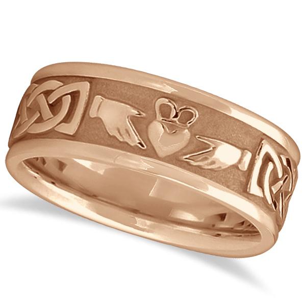 Engravable Irish Celtic Knot Claddagh Wedding Band 14k Rose Gold