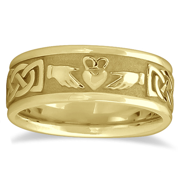 Engravable Irish Celtic Knot Claddagh Wedding Band 14k Yellow Gold