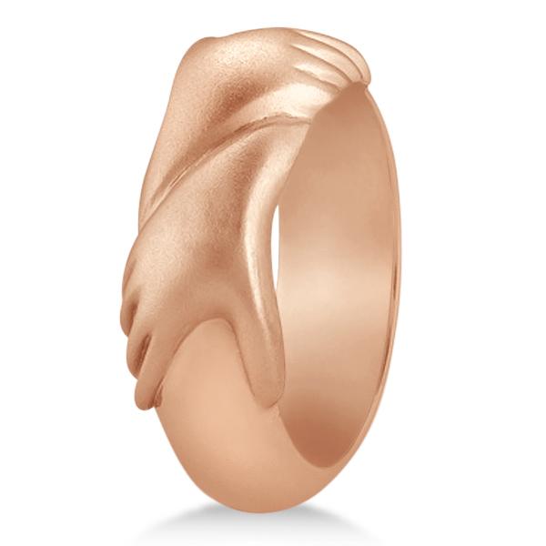 Unisex Wedding Band Friendship Ring Carved Hand Design 14K Rose Gold