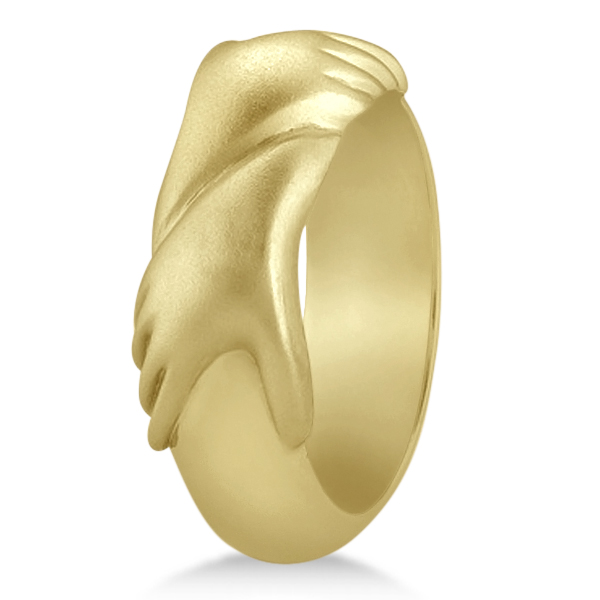 Unisex Wedding Band Friendship Ring Carved Hand Design 14K Yellow Gold