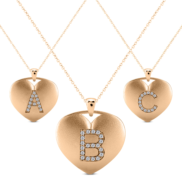 Heart-Shape Diamond Block Letter Initial Necklace in 14k Rose Gold