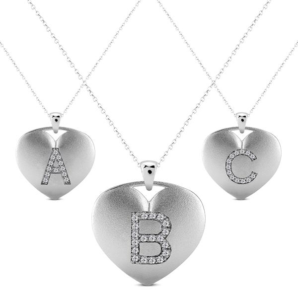 Heart-Shape Diamond Block Letter Initial Necklace in 14k White Gold