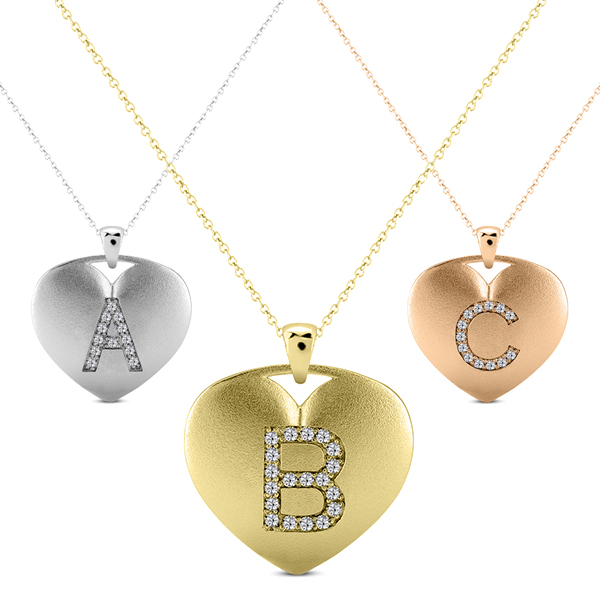 Heart-Shape Diamond Block Letter Initial Necklace in 14k Yellow Gold