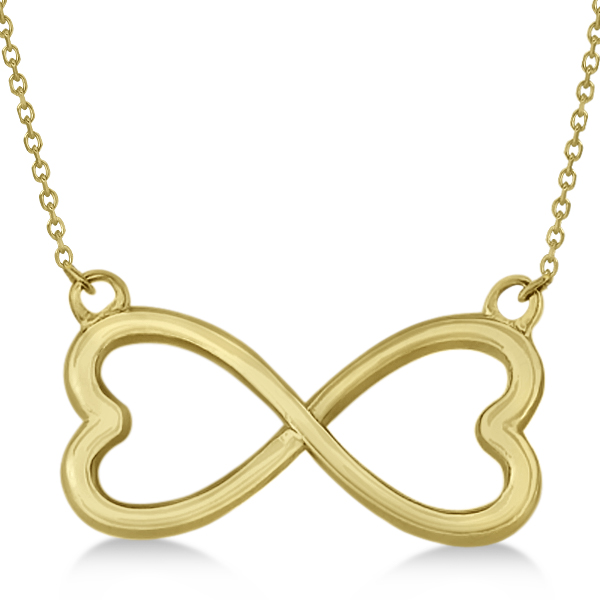 ladies heart shaped infinity pendant necklace 14k yellow
