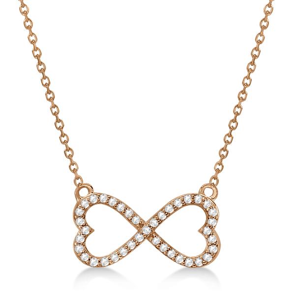 Pave Infinity Heart Diamond Pendant Necklace 14k Rose Gold (0.39ct)