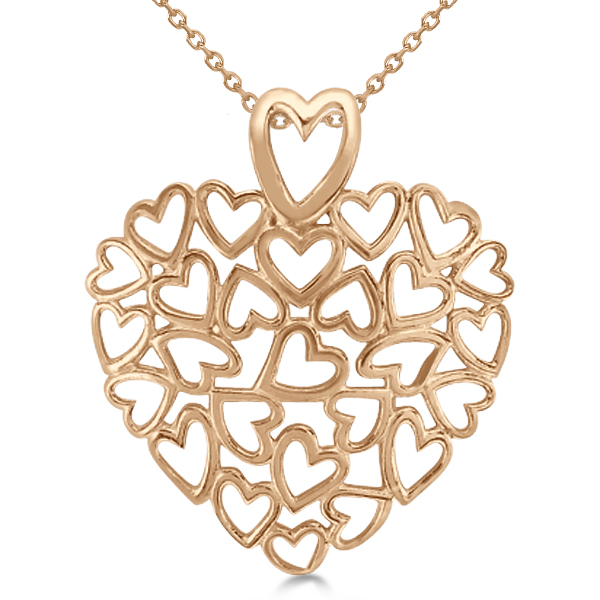 Ladies Carved, Multiple Open Hearts Pendant Necklace in 14k Rose Gold