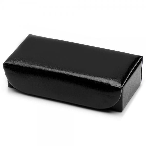 Men's Black Leather Cufflink Box, Holds Five Pairs, Snap Closure