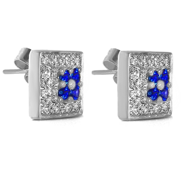 Square Shaped Blue Sapphire & Diamond Earrings 14k White Gold 0.75ct