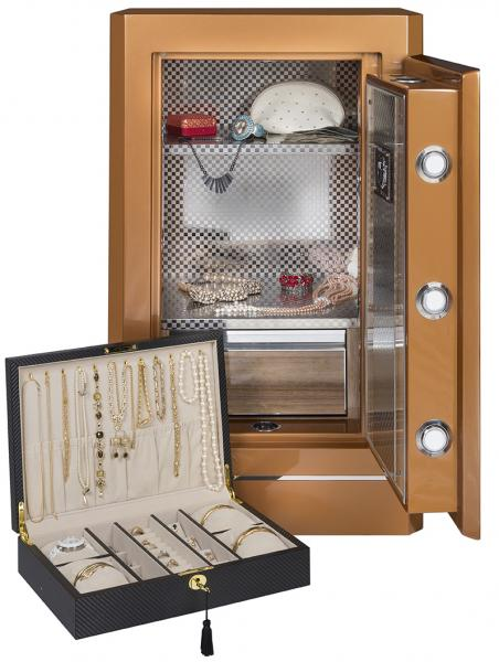 Electronic Fingerprint Lock Jewelry Safe w Key Override in Amber