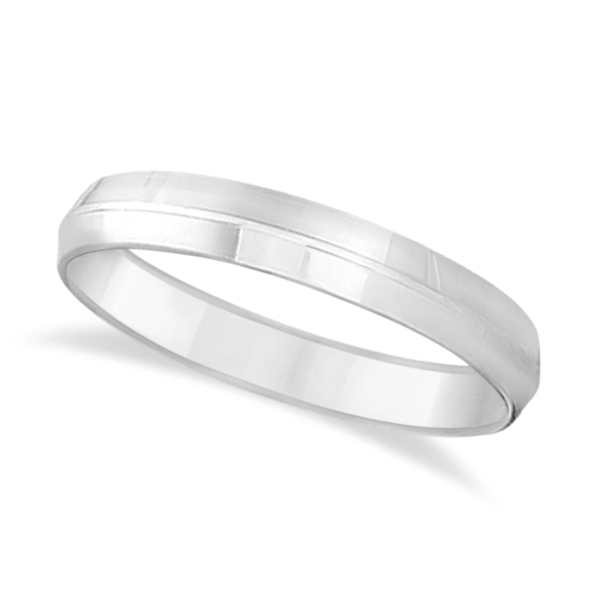 Knife Edge Wedding Ring Band Comfort-Fit 18k White Gold (4mm)