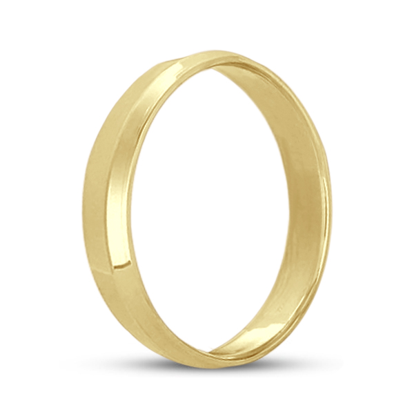 Knife Edge Wedding Ring Band Comfort-Fit 18k Yellow Gold (4mm)