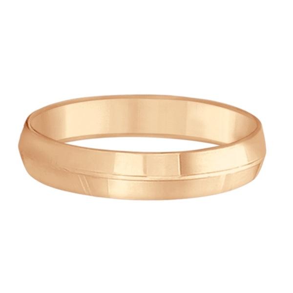 Knife Edge Wedding Ring Band Comfort-Fit 14k Rose Gold (5mm)