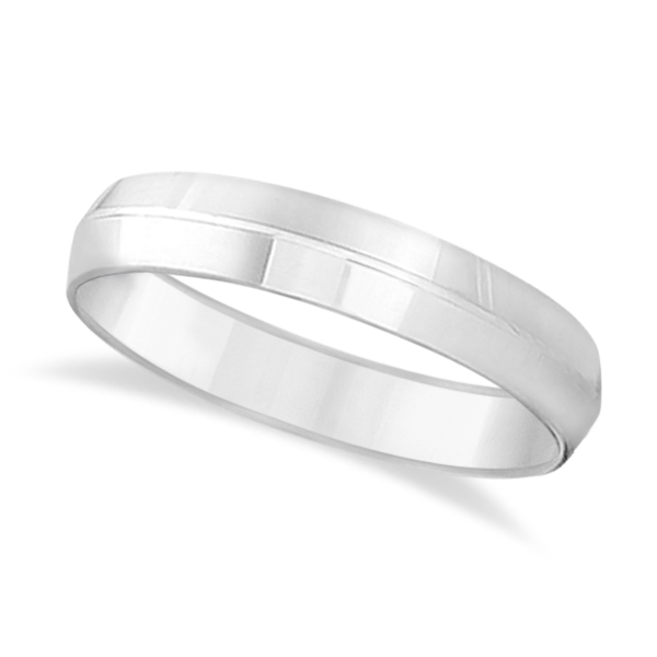 Knife Edge Wedding Ring Band Comfort-Fit 14k White Gold (5mm)