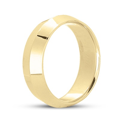 Knife Edge Wedding Ring Band Comfort-Fit 14k Yellow Gold (5mm)
