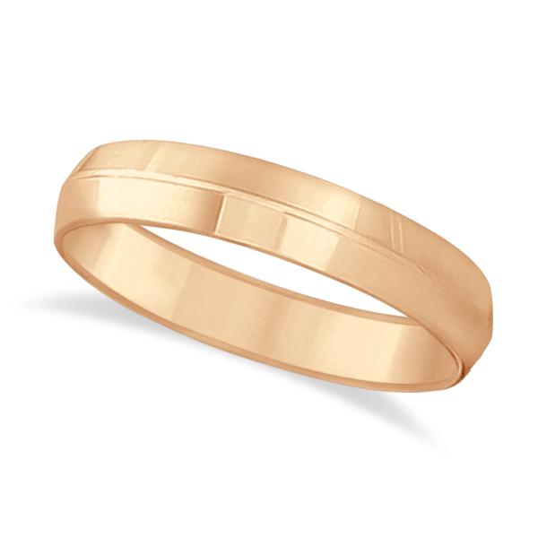 Knife Edge Wedding Ring Band Comfort-Fit 18k Rose Gold (5mm)