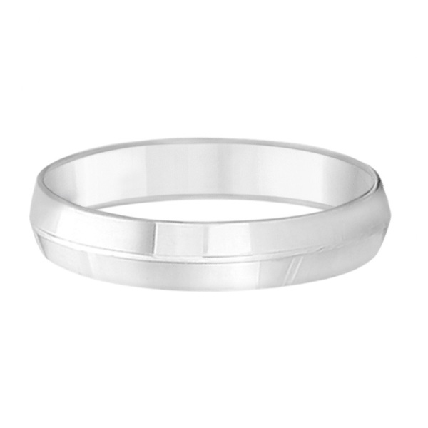 Knife Edge Wedding Ring Band Comfort-Fit 18k White Gold (5mm)