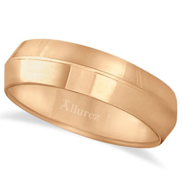 Knife Edge Wedding Ring Band Comfort-Fit 14k Rose Gold (6mm)
