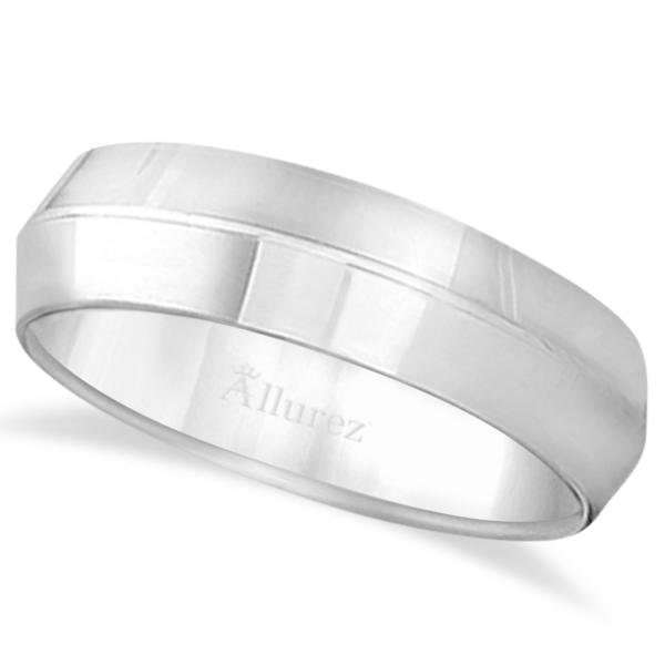 Knife Edge Wedding Ring Band Comfort-Fit 14k White Gold (6mm)