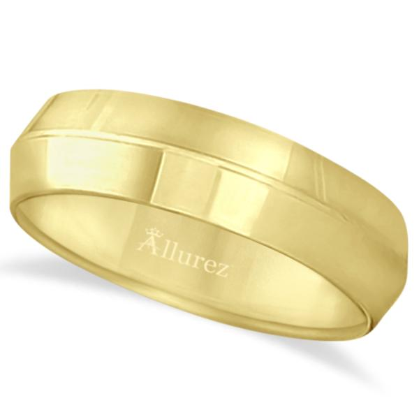 Knife Edge Wedding Ring Band Comfort-Fit 14k Yellow Gold (6mm)