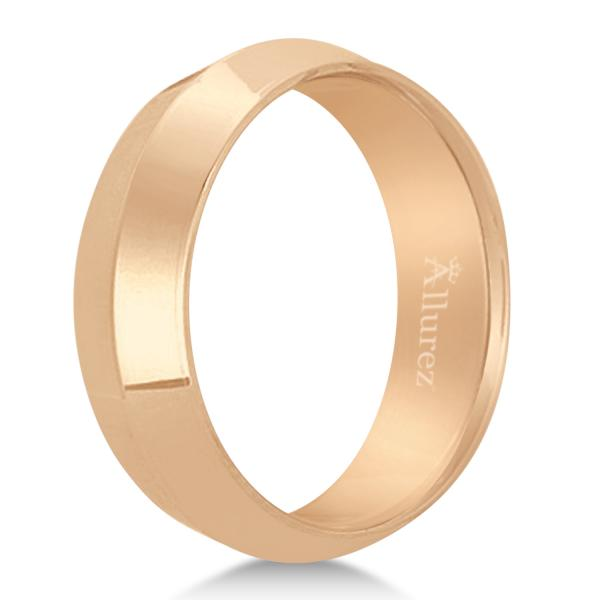 Knife Edge Wedding Ring Band Comfort-Fit 18k Rose Gold (6mm)
