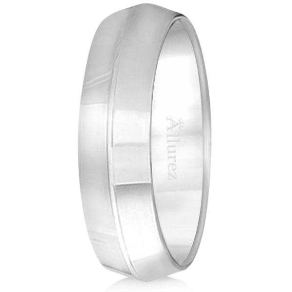 Knife Edge Wedding Ring Band Comfort-Fit 18k White Gold (6mm)