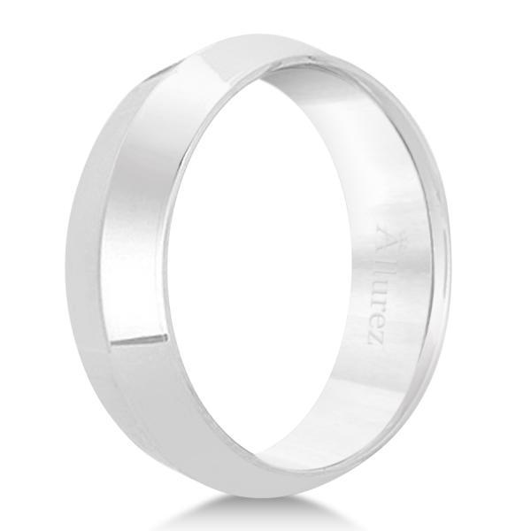 Knife Edge Wedding Ring Band Comfort-Fit Palladium (6mm)