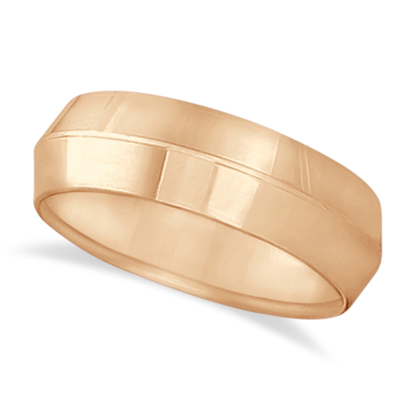 Knife Edge Wedding Ring Band Comfort-Fit 14k Rose Gold (7mm)