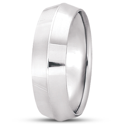 Knife Edge Wedding Ring Band Comfort-Fit 14k White Gold (7mm)