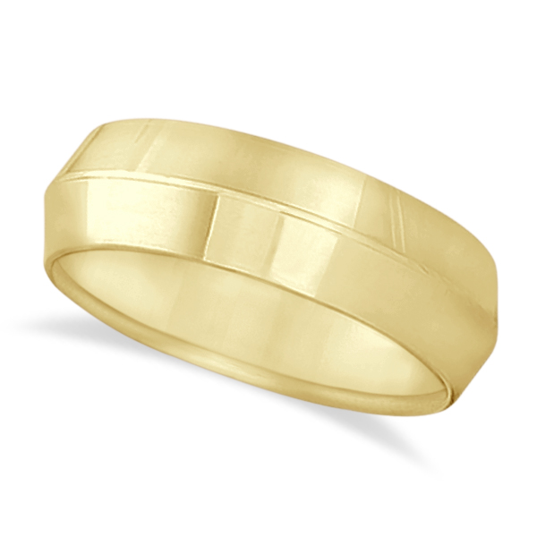 Knife Edge Wedding Ring Band Comfort-Fit 18k Yellow Gold (7mm)