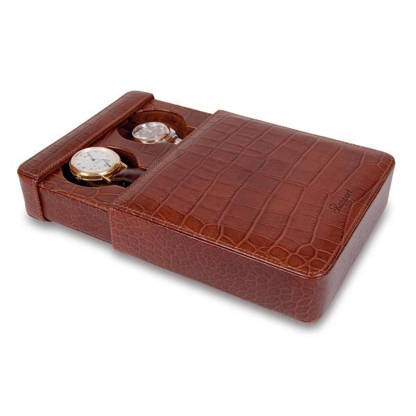 Rapport London Double Watch Slipcase, Crocodile Pattern Brown Leather