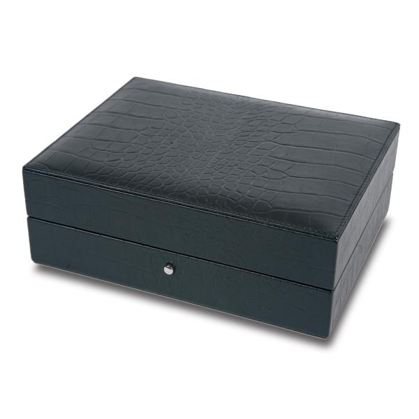 Rapport London Cufflink Box in Crocodile Patterned Black Leather