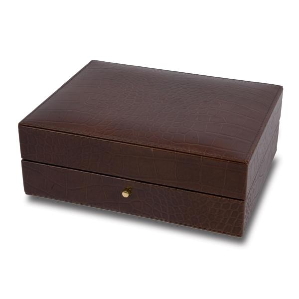 Rapport London Cufflink Box in Crocodile Patterned Brown Leather