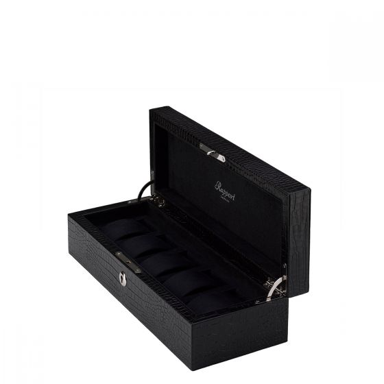 Rapport London Five Watch Box with Crocodile Pattern Black Leather