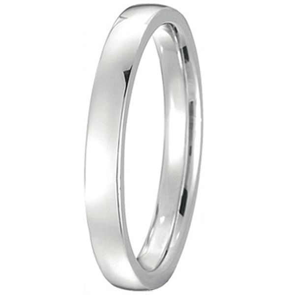 14k White Gold Wedding Ring Low Dome Comfort Fit (2mm)