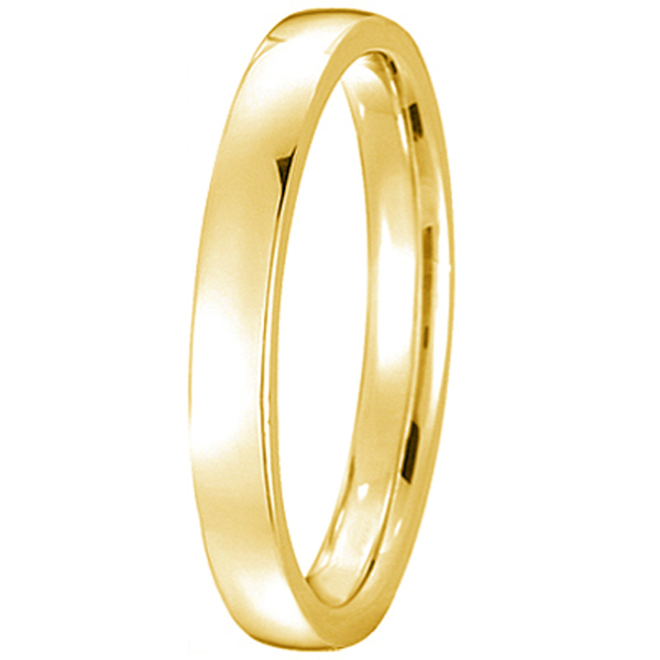 18k Yellow Gold Wedding Ring Low Dome Comfort Fit (2mm)