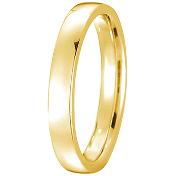 14k Yellow Gold Wedding Ring Low Dome Comfort Fit (3mm)