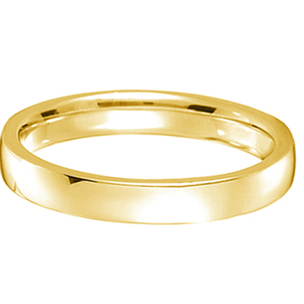18k Yellow Gold Wedding Ring Low Dome Comfort Fit (3mm)