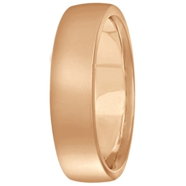 Low Dome Comfort Fit Wedding Ring For Men 14k Rose Gold (5mm)