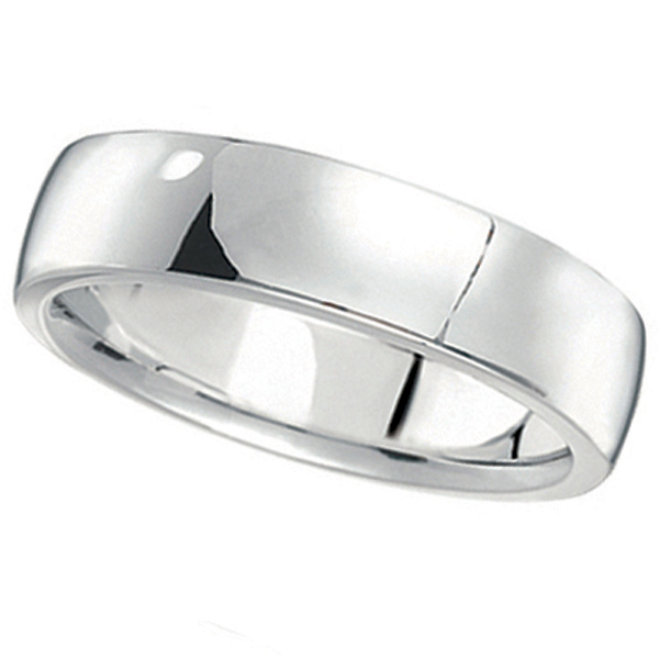 18k White Gold Wedding Ring Low Dome Comfort Fit (5 mm)